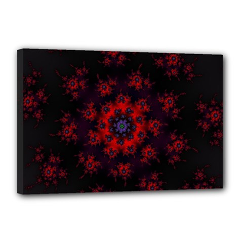 Fractal Abstract Blossom Bloom Red Canvas 18  X 12