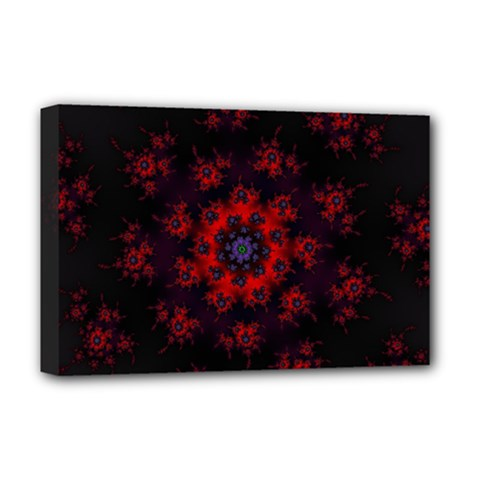 Fractal Abstract Blossom Bloom Red Deluxe Canvas 18  X 12