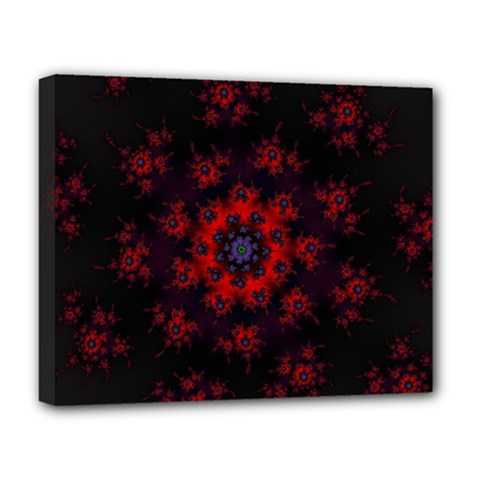Fractal Abstract Blossom Bloom Red Deluxe Canvas 20  X 16