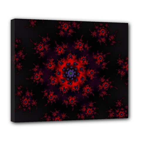 Fractal Abstract Blossom Bloom Red Deluxe Canvas 24  X 20