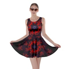 Fractal Abstract Blossom Bloom Red Skater Dress