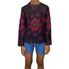Fractal Abstract Blossom Bloom Red Kids  Long Sleeve Swimwear