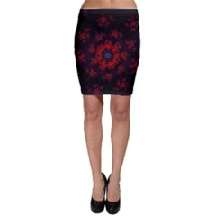 Fractal Abstract Blossom Bloom Red Bodycon Skirt