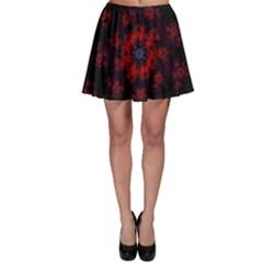Fractal Abstract Blossom Bloom Red Skater Skirt