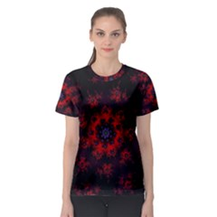 Fractal Abstract Blossom Bloom Red Women s Sport Mesh Tee