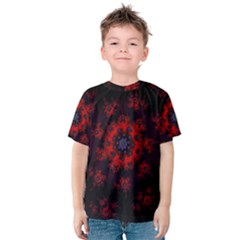 Fractal Abstract Blossom Bloom Red Kids  Cotton Tee