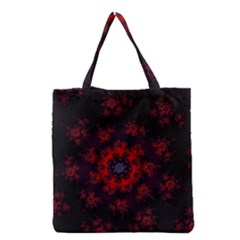 Fractal Abstract Blossom Bloom Red Grocery Tote Bag