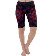 Fractal Abstract Blossom Bloom Red Cropped Leggings
