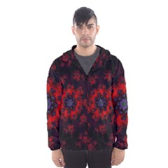 Fractal Abstract Blossom Bloom Red Hooded Wind Breaker (men)
