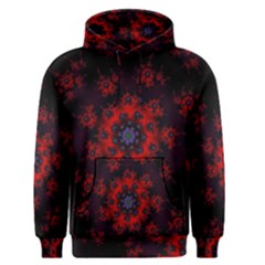 Fractal Abstract Blossom Bloom Red Men s Pullover Hoodie