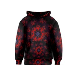Fractal Abstract Blossom Bloom Red Kids  Pullover Hoodie
