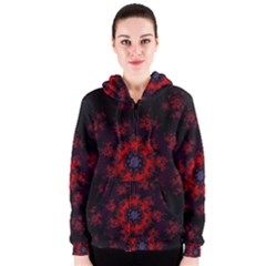 Fractal Abstract Blossom Bloom Red Women s Zipper Hoodie
