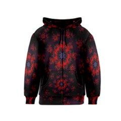 Fractal Abstract Blossom Bloom Red Kids  Zipper Hoodie