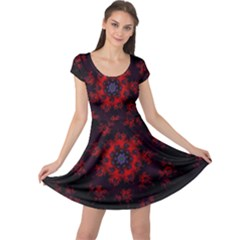 Fractal Abstract Blossom Bloom Red Cap Sleeve Dresses