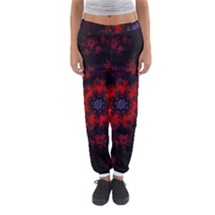 Fractal Abstract Blossom Bloom Red Women s Jogger Sweatpants