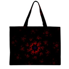 Fractal Abstract Blossom Bloom Red Zipper Mini Tote Bag