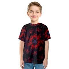 Fractal Abstract Blossom Bloom Red Kids  Sport Mesh Tee