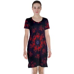 Fractal Abstract Blossom Bloom Red Short Sleeve Nightdress