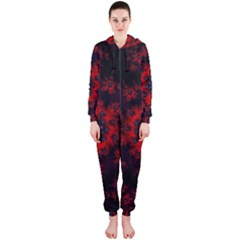 Fractal Abstract Blossom Bloom Red Hooded Jumpsuit (ladies)