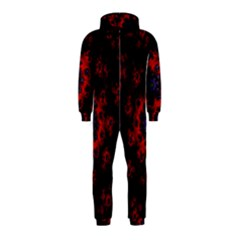 Fractal Abstract Blossom Bloom Red Hooded Jumpsuit (Kids)