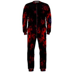 Fractal Abstract Blossom Bloom Red Onepiece Jumpsuit (men)
