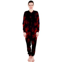 Fractal Abstract Blossom Bloom Red Onepiece Jumpsuit (ladies)