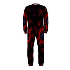 Fractal Abstract Blossom Bloom Red Onepiece Jumpsuit (kids)