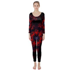 Fractal Abstract Blossom Bloom Red Long Sleeve Catsuit