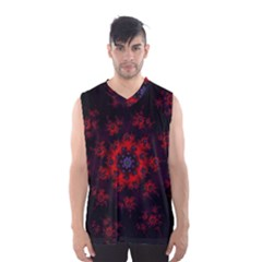 Fractal Abstract Blossom Bloom Red Men s Basketball Tank Top