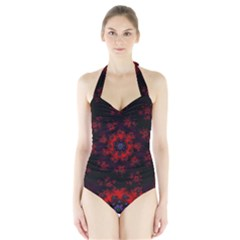 Fractal Abstract Blossom Bloom Red Halter Swimsuit