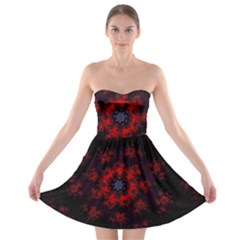Fractal Abstract Blossom Bloom Red Strapless Bra Top Dress