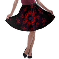 Fractal Abstract Blossom Bloom Red A Line Skater Skirt