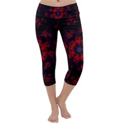 Fractal Abstract Blossom Bloom Red Capri Yoga Leggings