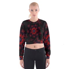 Fractal Abstract Blossom Bloom Red Women s Cropped Sweatshirt