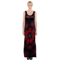 Fractal Abstract Blossom Bloom Red Maxi Thigh Split Dress