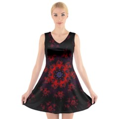 Fractal Abstract Blossom Bloom Red V Neck Sleeveless Skater Dress