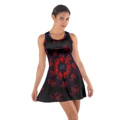 Fractal Abstract Blossom Bloom Red Cotton Racerback Dress