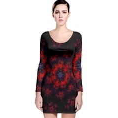 Fractal Abstract Blossom Bloom Red Long Sleeve Velvet Bodycon Dress