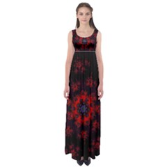 Fractal Abstract Blossom Bloom Red Empire Waist Maxi Dress