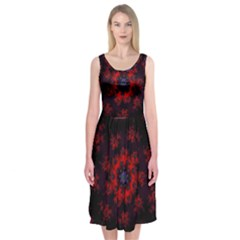 Fractal Abstract Blossom Bloom Red Midi Sleeveless Dress