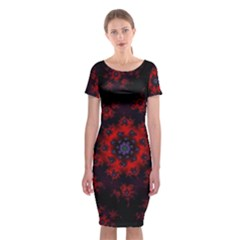 Fractal Abstract Blossom Bloom Red Classic Short Sleeve Midi Dress