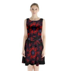 Fractal Abstract Blossom Bloom Red Sleeveless Chiffon Waist Tie Dress