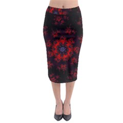 Fractal Abstract Blossom Bloom Red Midi Pencil Skirt
