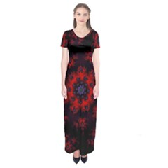 Fractal Abstract Blossom Bloom Red Short Sleeve Maxi Dress