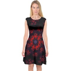 Fractal Abstract Blossom Bloom Red Capsleeve Midi Dress