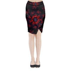 Fractal Abstract Blossom Bloom Red Midi Wrap Pencil Skirt
