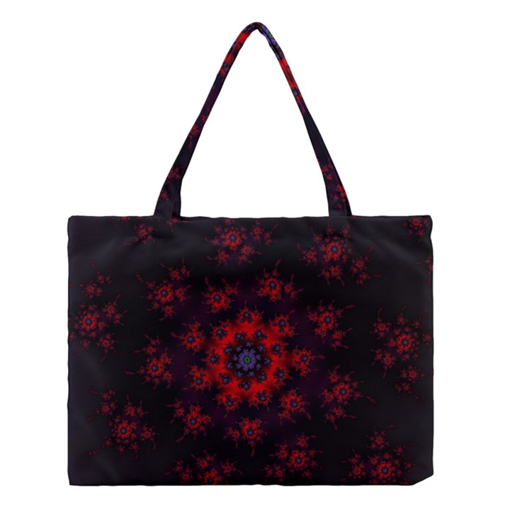 Fractal Abstract Blossom Bloom Red Medium Tote Bag