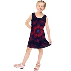 Fractal Abstract Blossom Bloom Red Kids  Tunic Dress
