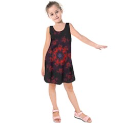 Fractal Abstract Blossom Bloom Red Kids  Sleeveless Dress