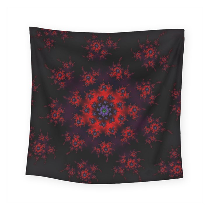 Fractal Abstract Blossom Bloom Red Square Tapestry (Small)